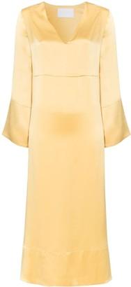 ASCENO Silk Midi Dress