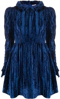 Batsheva Ruffle-Trimmed Velvet Mini Prairie Dress
