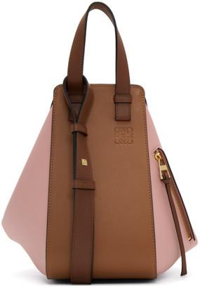 Loewe Tan and Pink Small Hammock Bag