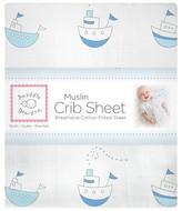 Swaddle Designs Little Ships Crib Sheet - Pastel Blue