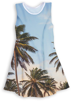 Urban Smalls Blue & Green Palm Tree Sleeveless Dress - Toddler & Girls