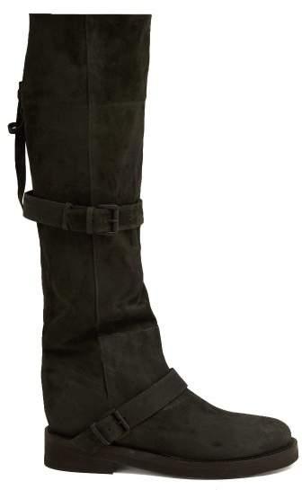 Ann Demeulemeester Nubuck Slouch Leather Boots - Womens - Dark Grey