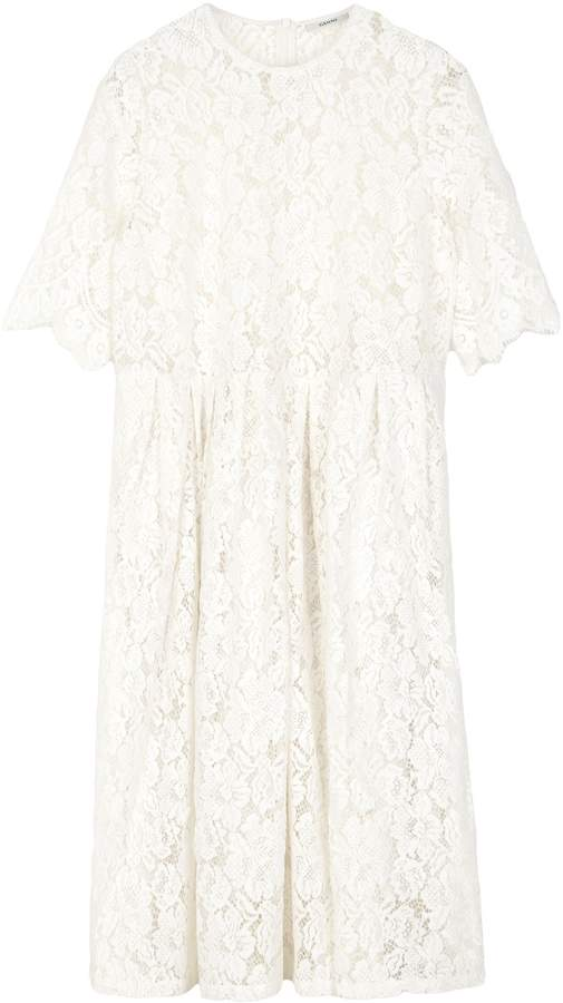 Ganni Jerome Lace Dress in Egret