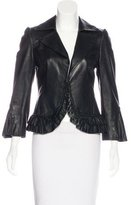 Laundry by Shelli Segal Leather Ruffle-Trimmed Jacket