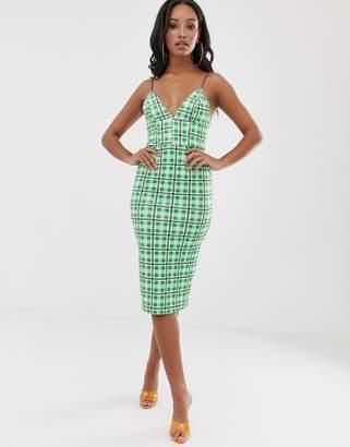 Asos Design DESIGN check strap back midi dress-Green