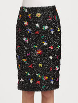 Suno Beaded Sequin Pencil Skirt