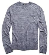 Todd Snyder Italian Linen Saddle Crewneck Sweater in Navy Mix
