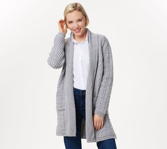 Aran Craft Merino Wool Open Front Long Sweater Cardigan