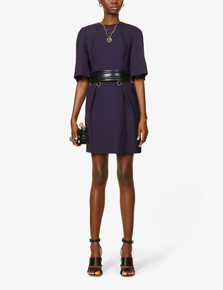 Alexander McQueen Scoop-neck wool-blend mini dress