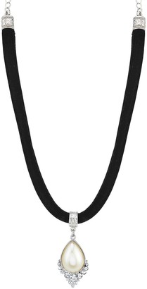 1928 Downton Abbey Crystal and Pearl Teardrop on Black Velvet Choker Necklace
