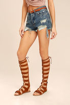 Bamboo Hasna Chestnut Brown Suede Tall Gladiator Sandals