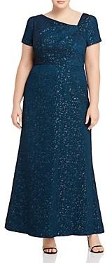 Adrianna Papell Plus Metallic Jacquard Gown