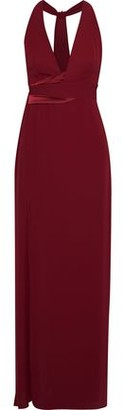 Halston Satin-trimmed Crepe Gown