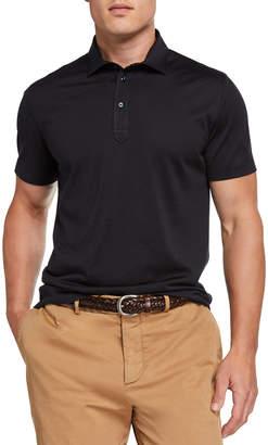 Brunello Cucinelli Men's Silk-Cotton Jersey Polo Shirt