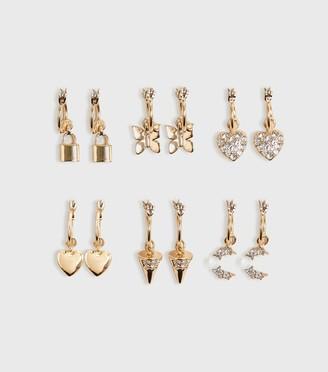 New Look 6 Pack Mixed Charm Mini Hoop Earrings