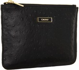 DKNY Ostrich Leather Flat Zip Pouch (Black) - Bags and Luggage