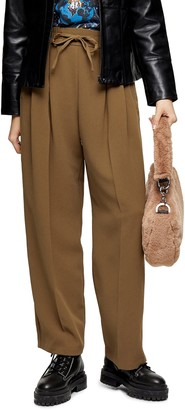 Topshop Creased Straight Leg Crepe Trousers