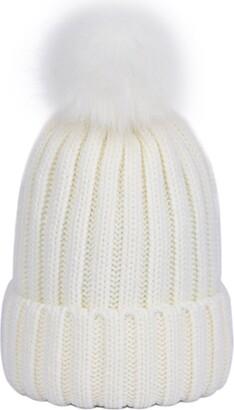 LAUSONS Women's Warm Ribbed Knit Winter Bobble Hat Faux Fur Pom Pom Beanie in Grey