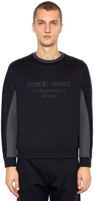 Giorgio Armani Logo Embroidered Cotton Blend Sweatshirt