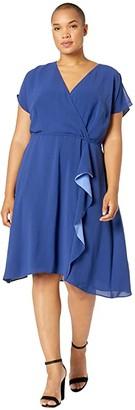 Adrianna Papell Plus Size Gauzy Crepe A-Line Dress with Drape (Indigo) Women's Dress