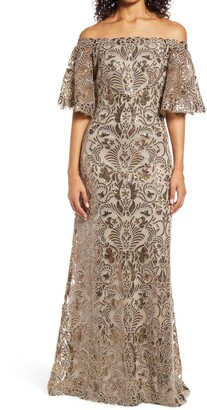 Tadashi Shoji Off the Shoulder Bell Sleeve Lace Sequin Fit & Flare Gown
