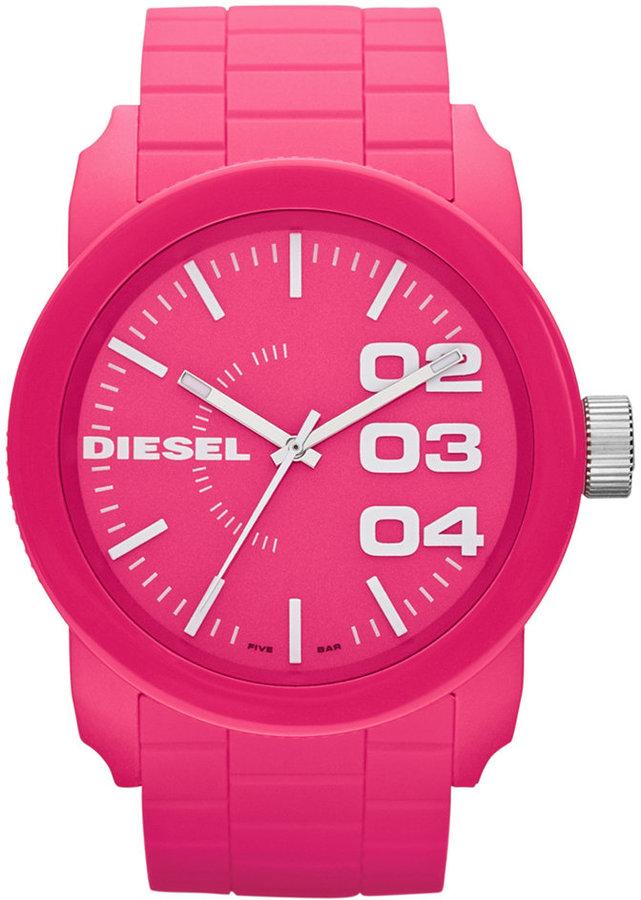 Diesel Watch, Unisex Pink Silicone Strap 44mm DZ1569