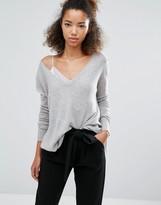 Subtle Luxury Cashmere Asymmetrical V Neck Sweater