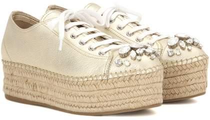 Miu Miu Embellished leather espadrille sneakers