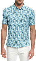 Isaia Floral Short-Sleeve Sport Shirt, Green/Blue