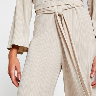 River Island Womens Beige belted ribbed culottes