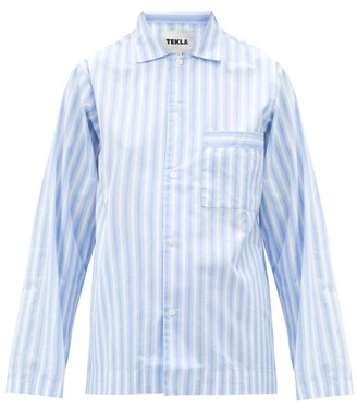 Tekla Striped Organic-cotton Pyjama Shirt - Blue Stripe