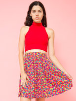 American Apparel Vintage Express Square & Swirl Print Pleated Skirt