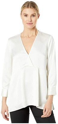 Halston Satin Tunic Top (Cream) Women's Clothing