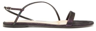 Gianvito Rossi Crystal-strap Metallic-suede Sandals - Womens - Black