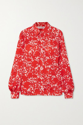 Carolina Herrera Floral-print Satin Blouse - Red