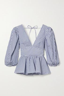 STAUD Luna Striped Cotton-poplin Peplum Top - White