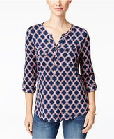 Charter Club Iconic-Print Henley Top, Only at Macy's