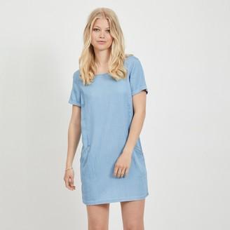 Vila V-Back Mini Shift Dress with Pockets and Short Sleeves