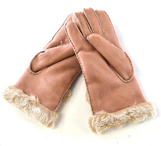 Pia Rossini Suzette Faux Shearling Fur Sheepskin Gloves Chocolate Sand