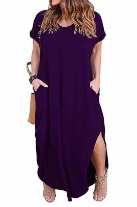Nemidor Women's Casual Loose Pocket Long Dress Short Sleeve Plus Size Slit Maxi Dress (24