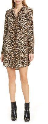 Equipment Essential Long Sleeve Leopard Print Silk Shirtdress