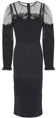 Dolce & Gabbana Lace-trimmed Tulle, Jacquard And Crepe Midi Dress