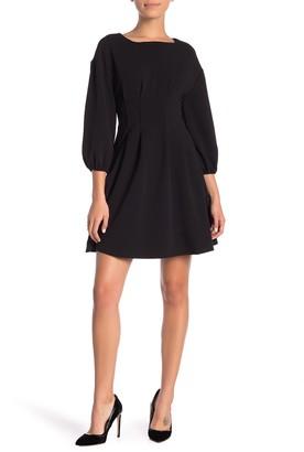 London Times 3/4 Sleeve Fit & Flare Dress (Petite)