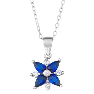 Sterling Silver Lab-Created Blue Spinel & Cubic Zirconia Flower Pendant Necklace