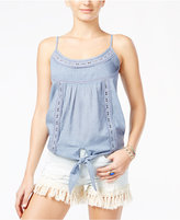 American Rag Crochet-Trim Tie-Front Tank, Only at Macy's
