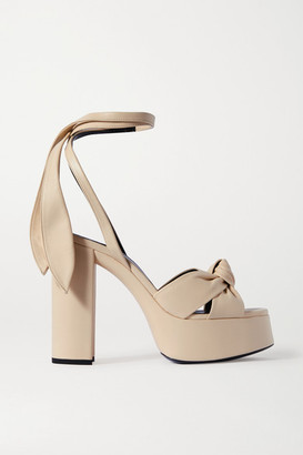 Saint Laurent Bianca Knotted Leather Platform Sandals - Cream