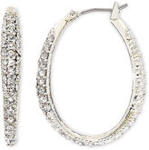 JCPenney MONET JEWELRY Monet Silver-Tone Crystal Oval Hoop Earrings
