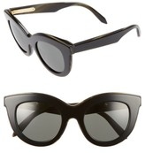 Victoria Beckham Women's 49Mm Cat Eye Sunglasses - Amber Tortoise/ White/ Black