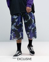 Reclaimed Vintage Inspired Wide Leg Cropped Pants In Camo Nylon