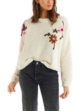 Allison New York Women's Floral Embroidered Sweater
